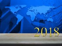 Concepto 2018, elementos de la Feliz Año Nuevo de esta imagen equipados cerca Foto de archivo