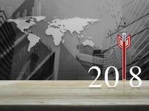 Concepto 2018, elementos de la Feliz Año Nuevo de la estrategia empresarial de esto Foto de archivo