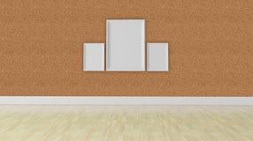 Concepto en blanco del marco tres, textura de la pared del corkboard Imagen de archivo