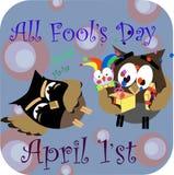 Concepto en el día del mundo risa del 1 de abril, sorpresa cómica en el regalo Imagen de archivo