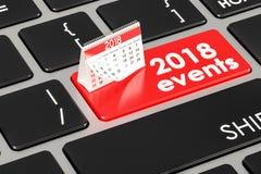 concepto en el teclado, de 2018 eventos representación 3D Foto de archivo