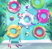 Concepto en estilo plano Cartel del partido de la playa del verano imágenes de archivo libres de regalías