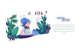 Concepto en estilo plano con la mujer La empresaria trabaja en oficina fotos de archivo