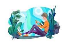 Concepto en estilo plano Hombre joven que se sienta en parque y la charla foto de archivo libre de regalías