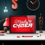Concepto en línea cibernético de las compras y del márketing de lunes Imagenes de archivo