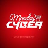 Concepto en línea cibernético de las compras y del márketing de lunes Imagen de archivo libre de regalías