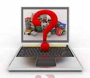 Concepto en línea de ayuda en un ordenador de cartera con la nota de la interrogación Fotografía de archivo