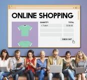 Concepto en línea de Digitaces de la venta al por menor de Internet del carro de la compra de compras imagen de archivo