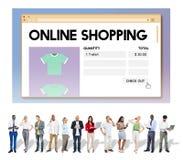 Concepto en línea de Digitaces de la venta al por menor de Internet del carro de la compra de compras imagen de archivo libre de regalías