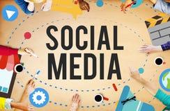 Concepto en línea de Internet de la medios red social Imágenes de archivo libres de regalías