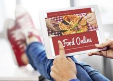 Concepto en línea de Internet de la pizza de la orden de la comida Imagen de archivo