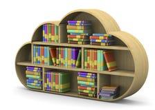 Concepto en línea de la biblioteca - 3D Imagen de archivo