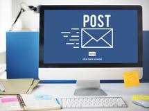 Concepto en línea de la comunicación del mensaje de la correspondencia del correo de los posts imagen de archivo libre de regalías