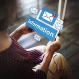 Concepto en línea de la conexión del correo electrónico de la información de datos fotografía de archivo