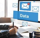 Concepto en línea de la conexión del correo electrónico de la información de datos imagen de archivo