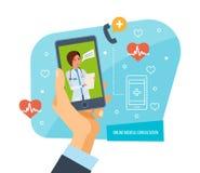 Concepto en línea de la consulta médica Concepto del doctor y primeros auxilios en línea libre illustration