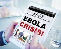 Concepto en línea de la crisis de Ebola del título de las noticias de Digitaces Fotos de archivo