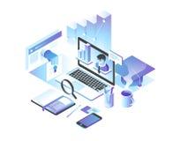 Concepto en línea de la educación Cursos de aprendizaje en línea, especialización, tutoriales, conferencias diseño isométrico 3d libre illustration