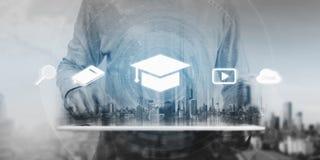 Concepto en línea de la educación, del aprendizaje electrónico y del eBook fotos de archivo