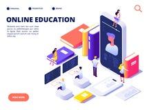 Concepto en línea de la educación Entrenamiento de la clase de Internet y curso en línea Eduque en distancia Ejemplo isométrico d ilustración del vector