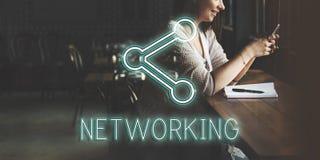 Concepto en línea de la red de la conexión de la comunicación foto de archivo libre de regalías