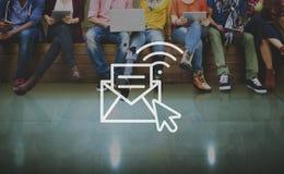 Concepto en línea de la red de los apuroses de la mensajería de la comunicación imagen de archivo