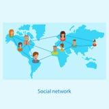 Concepto en línea de la red social para el web y el infograp stock de ilustración