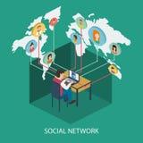 Concepto en línea de la red social para el web y el infograp ilustración del vector