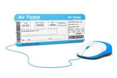 Concepto en línea de la reservación Boleto y cálculo del documento de embarque de la línea aérea Foto de archivo