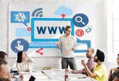 Concepto en línea de la tecnología de la conexión de la red del WWW Fotos de archivo