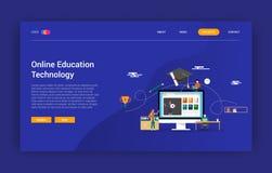 Concepto en línea de la tecnología de la educación para aprender homepage del diseño de la página del aterrizaje de la página web libre illustration