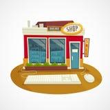 Concepto en línea de la tienda con el ratón y el teclado, ejemplo del edificio y del ordenador de la historieta del vector Imagenes de archivo
