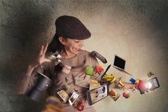 Concepto en línea de la tienda, el fluir de las imágenes fotos de archivo