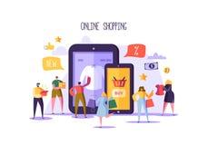 Concepto en línea de las compras con los caracteres Tienda móvil del comercio electrónico con los productos de compra de la gente libre illustration