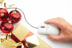Concepto en línea de las compras de la Navidad del Internet Fotografía de archivo libre de regalías