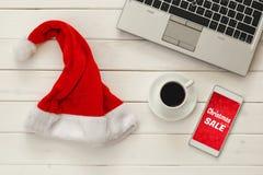 Concepto en línea de las compras del día de fiesta de la Navidad Foto de archivo libre de regalías