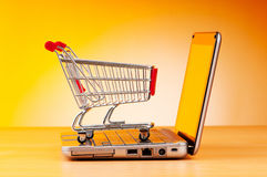 Concepto en línea de las compras del Internet fotografía de archivo