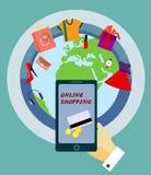 Concepto en línea de las compras Ejemplo del vector con el globo del mundo ilustración del vector