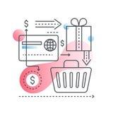 Concepto en línea de las compras en línea de moda con estilo plano del color de la pendiente ilustración del vector