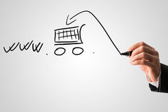 concepto en línea de las compras y del comercio electrónico Imagen de archivo libre de regalías