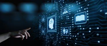 Concepto en línea de los cursos de Webinar de la tecnología de Internet de la educación del aprendizaje electrónico foto de archivo