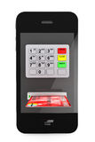 Concepto en línea de los pagos. Teléfono móvil con la atmósfera y la tarjeta de crédito Foto de archivo libre de regalías