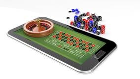 Concepto en línea del casino con la tableta Imagen de archivo