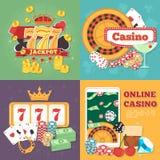 Concepto en línea del casino con los dados stock de ilustración