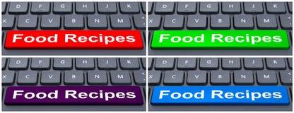 Concepto en línea del comercio electrónico con recetas de la comida Fotografía de archivo