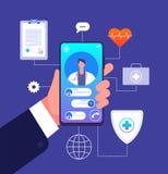 Concepto en línea del doctor App del teléfono móvil de la medicina Consejos del consultor del doctor sobre la pantalla del smartp stock de ilustración