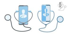 Concepto en línea del doctor Comunicación en línea de la clínica médica con un paciente Ilustración del vector libre illustration