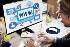 Concepto en línea del ejemplo de Internet del World Wide Web imágenes de archivo libres de regalías