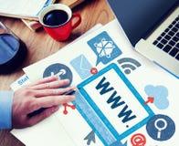 Concepto en línea del ejemplo de Internet del World Wide Web imagen de archivo