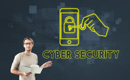 Concepto en línea del gráfico de la seguridad de la seguridad cibernética imagenes de archivo